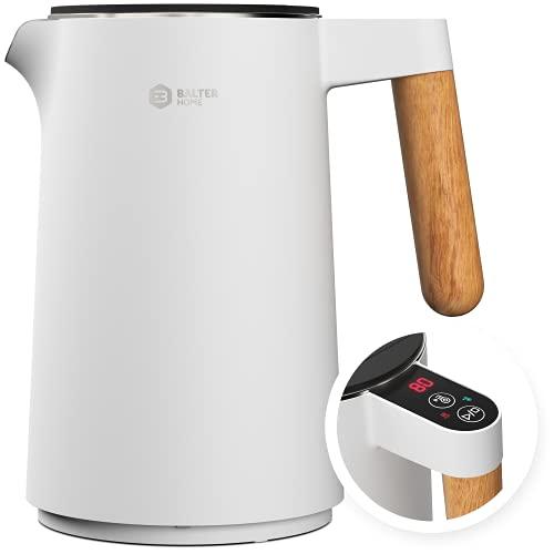 BALTER Edelstahl Wasserkocher mit Temperatureinstellung, 45°C-100°C, Doppelwand, BPA frei, leise & kabellos, Warmhaltefunktion, Teekocher mit Temperaturanzeige, 1.5L, 2200W, Weiß
