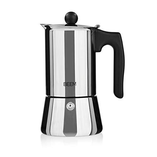 BEEM ESPRESSOMAKER Espressokocher - 4 Tassen | Herdkocher | Induktion | Edelstahl | Espresso - Kanne | Mokkakanne| Klassisch