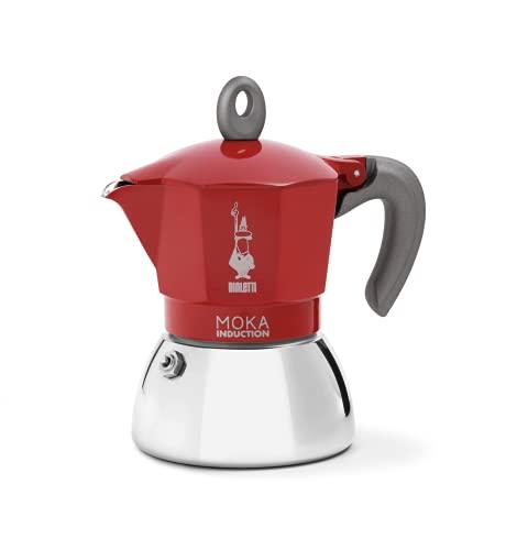 Bialetti New Moka Induction, Kaffeemaschine für Induktion geeignet, Aluminium/Stahl, 4 Tassen, Red