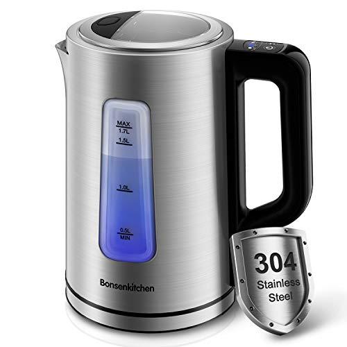 Bonsenkitchen 2200W 1.7L Edelstahl Wasserkocher, Elektrischer Wasserkocher mit 5 Temperatureinstellung und Trockengehschutz (40°-100°C), Wasserkessel Teekanne, BPA-Frei, Silber EK8902