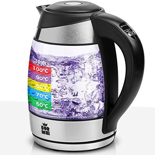 ForMe Glas Wasserkocher 1.8 mit Temperatureinstellung Temperaturwahl 60-100°C Farbwechsel LED Temperatur Einstellbar Glaskessel I Glaswasserkocher Edelstahl I Teekessel mit Warmhaltefunktion BPA Frei