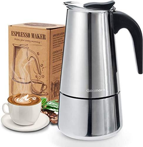 Godmorn Espressokocher, Kaffeekocher, Mokkakanne aus 430 Edelstahl, Espresso Maker für 6 Tassen (300 ml), Stovetop Coffee Maker Induktion Herde geeignet
