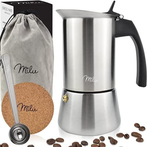 Milu Espressokocher Induktion geeignet, | 2, 4, 6, 9 Tassen| Edelstahl Mokkakanne, Espressokanne, Espresso Maker Set inkl. Untersetzer, Löffel, Bürste (Edelstahl, 4 Tassen (200ml))