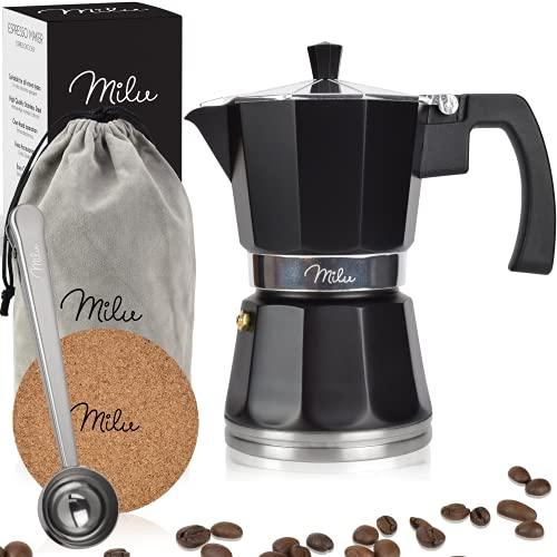 Milu Espressokocher Induktion geeignet | 3, 6, 9 Tassen| Aluminium Mokkakanne, Espressokanne, Espresso Maker Set inkl. Untersetzer, Löffel, Bürste (Schwarz, 9 Tassen (400 ml)