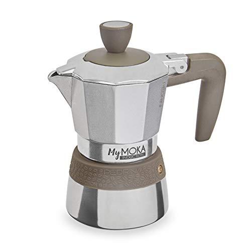 PEDRINI MyMoka Kaffeemaschine für Induktionskochfeld, 2-Tassen-Format, Espressokocher Moka taubengraue Farbe, Stahl außen, Aluminium innen, italienisches Design, Maße 14 x 7 x 14 cm