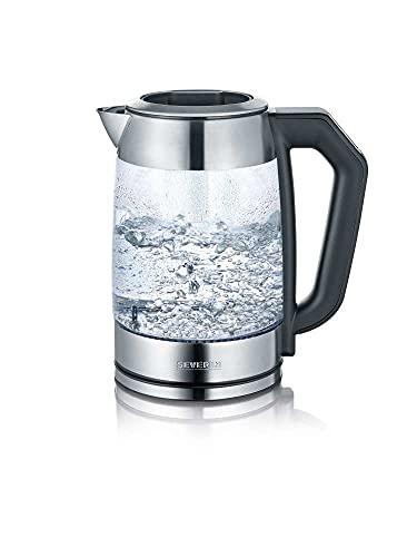 SEVERIN Glas Tee- und Wasserkocher, Teekocher mit einstellbarem Temperaturregler, Glas Wasserkocher mit Quick-Boil-Funktion, 2.200 W, Edelstahl / Schwarz, WK 3477